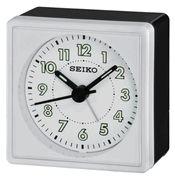 Seiko QHE083WLH Black and White Analog Travel Alarm Clock - Travel Alarm Clocks