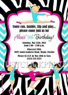 Girls Zebra Chevron Gymnastics Party Birthday Invitation Printable | DigitalDelight - Digital Art  on ArtFire