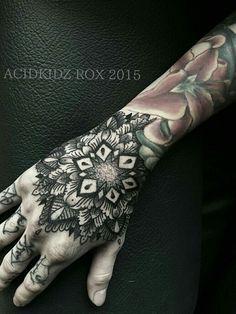 Taiwan Acidkidz tattoo, artist Roxiehart666, hand dotwork geometric mandala tattoo
