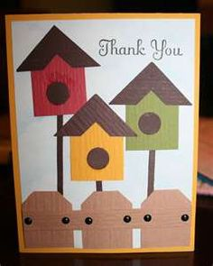 Cute bird houses--use with garden embossing folder