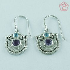 Multi Stone 925 Sterling Silver Gorgeous Design Earrings E2853 #SilvexImagesIndiaPvtLtd #DropDangle