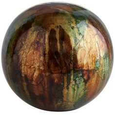 Green & Brown Ceramic Foil Sphere --look so pretty in the swirly autumn glass bowl