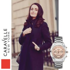 Urania is wearing our Silver-Tone 45L143 watch, out this Spring! #Caravelle #LFW #StreetStyle #Fashion #Watch