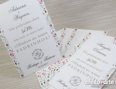 Convite para Padrinhos de Casamento estampa floral. Orçamentos e pedidos pelo e-mail contato@efeitoearte.com.br