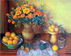 Margaret Olley:- Calendulas and Bush Lemons (Australian artist)