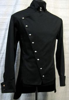 EMPIRE SHIRT - BLACK GABARDINE by Shrine Clothing Goth Steampunk Mens Jackets