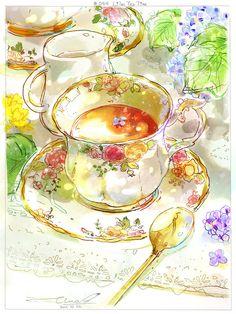 Lilac Tea Time by tinashan on DeviantArt Cute Food Drawings, Kawaii Drawings, Aesthetic Drawing, Aesthetic Anime, Cute Food Art, Watercolor Food, Tea Art, Food Illustrations, Cute Wallpapers