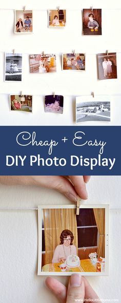 Cheap + easy DIY Photo Display! Looking for easy photography display ideas? Learn how to make this simple wall system with clothespins, twine, and command hooks! A fast + fun photo display tutorial that's perfect for apartments, dorm rooms, weddings, offi