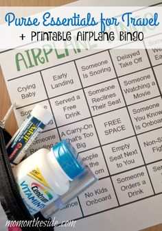Purse Essentials for Travel in Fall and Winter to keep you healthy! Plus a Printable Airplane Bingo Game to keep you entertained! #BeHealthyForEveryPartofLife #ad