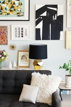 modern interior design and decor in black and golden colors