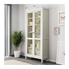 HEMNES Glass-door cabinet - white stain - IKEA - living room