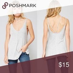 Grey Striped Tank Top Boutique Soft tank Promesa Tops Tank Tops