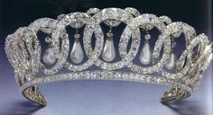 The Grand Duchess Vladimir Tiara with its stunning drop pearls (also worn with Emeralds)