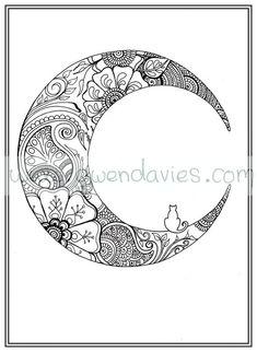 Moon mandala coloring pages Moon Coloring Pages, Mandala Coloring Pages, Adult Coloring Pages, Coloring Books, Coloring Sheets, Moon Drawing, Mandala Drawing, Flower Henna, Flower Mandala