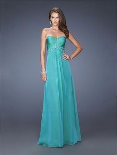 Chiffon Sweetheart Beadings Pleatings Empire Prom Dress PD2628