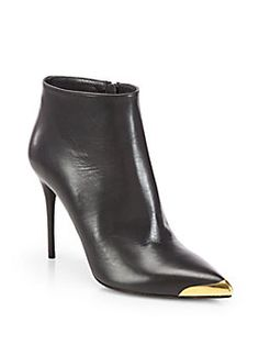Alexander McQueen - Leather Metal Cap-Toe Ankle Boots