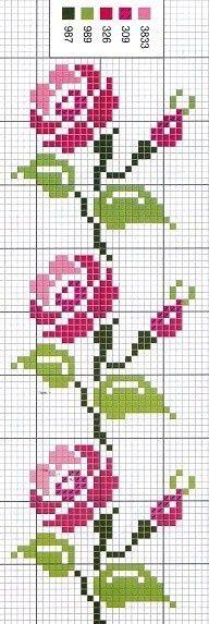 Artes da Nique: Gráfico em ponto cruz - Rosa
