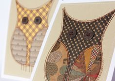 Pair of owls cards (sewn paper)