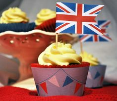 Free Union Jack Cupcake Flags and Jubilee Cupcake Wrappers