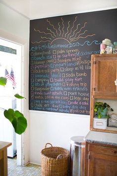 The Figgle Family's Cozy First Home (fun family! I like this idea of a summer checklist chalkboard! Kitchen Spotlights, Summer Fun List, Summer Bucket, Summer Ideas, Summer Checklist, First Home, House Painting, Apartment Therapy, House Tours