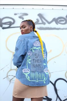"""Say Their Names hand painted denim by @PacifyMPLS - """"Femme Fatale"""" • model: @JaziMcGill photo by @NextDimensional • #minneapolis #handpainted #saytheirnames #flower #rip"""