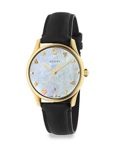 Gucci G Timeless Crystal & Leather Strap Analog Watch – Shoclef Gold Gucci Watches For Men, Gold Watches Women, Mens Watches Leather, Cool Watches, Leather Men, Black Leather, Fashion Watches, White Watches, Men's Watches