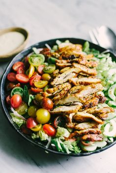 Chicken shawarma salad is an incredibly flavorful, fresh, and elegant weeknight dinner. The greens are tossed with mint and parsley, then topped with crunchy cucumbers, garden-fresh tomatoes, and tender slivers of red onion. Each bite is crisp, bright and bursting with flavor.