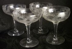 Fostoria Cut Crystal Glass Champagne Wine Glasses Floral Flowers Vines Leaves