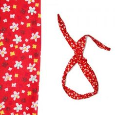 Opaska PIN Czerwona w białe kwiatki