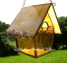 Stained Glass Birdhouse - Amber with Copper Swirls - Handmade