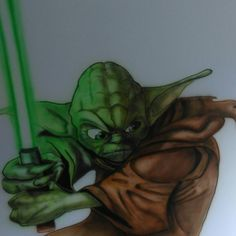 Airbrushed Yoda on the wall in childs room  #theartofmonkey  #Art #airbrush #airbrushing #yoda #starwars