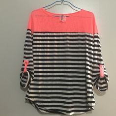 Coral and stripped blouse Cute coral and stripped slouchy blouse! Worn a few times! Size large! Tops Blouses