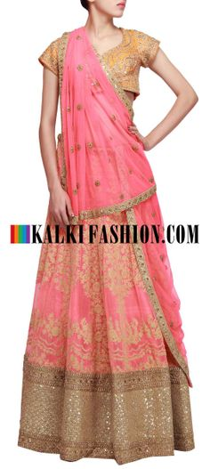 Buy Online from the link below. We ship worldwide (Free Shipping over US$100) http://www.kalkifashion.com/pink-lehenga-embellished-in-thread-and-sequence-embroidery-only-on-kalki.html Pink lehenga embellished in thread and sequence embroidery only on Kalki