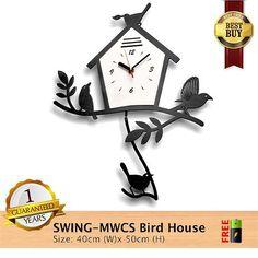 Jam Dinding MWCS Swing Bird House Spesifikasinya: 1. Mesin Seiko Quartz Sweep Movement yang artinya mesinnya tidak berbunyi sedikit pun (1-Year Warranty) 2. Material: Kayu pilihan berkualitas tinggi Akrilik dan ABS yang Ramah Lingkungan 3. Kelengkapan: Installation Kit Packaging Kayu Box yang Lux dan Mewah 4. Handmade Item 5. Free Battery  Harga:  Rp. 240.000  Berat: 2 Kg  Pengiriman via Jne Reguler  Utk Order  & Pertanyaan  add: Pin : 57523129 Whatsapp / sms : 0838 99777 087