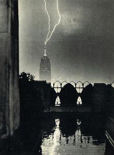 Lighting strikes the Empire State Building, New York City, 1944