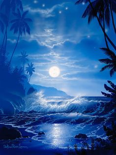 Midnight Dreams by Christian Riese Lassen Pretty Pictures, Art Pictures, Photos, Fantasy Landscape, Landscape Art, Ocean Scenes, Water Art, Beautiful Moon, Surf Art
