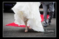 Red Carpet Wedding!  http://impressionsphotoandvideo.com/ #NJWeddings #NJPhotographer #WeddingPhotography #Bride #Groom #WeddingShoes #ActionShot #BlackandWhitePhoto #Accents #Love
