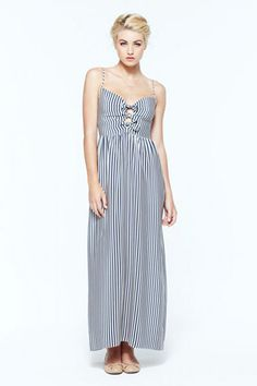 love the little bows on this striped maxi dress {click to shop}