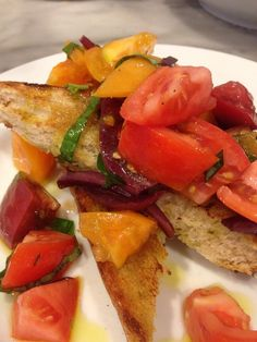 New bruschetta tonite @PastariaSTL heirloom tomatoes, pickled red onion, basil and EVOO