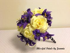 Purple and Yellow Wedding Bouquet Rose Wedding by BlissfulPetals, $98.00