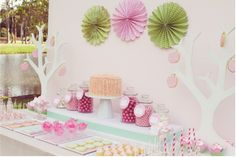 Beautiful dessert table; love the striped candy bar wraps