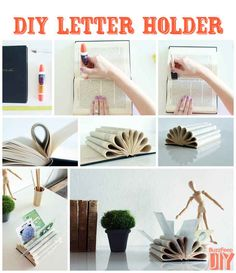 Book Letter Holder (from 50 Clever DIY Ways To Organize Your Entire Life) Book Crafts, Fun Crafts, Diy And Crafts, Paper Crafts, Diy Projects To Try, Craft Projects, Diys, Ideas Para Organizar, Letter Holder