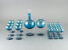 """NANNY STILL - Glassware serving """"Harlekiini"""" (Harlequin) series for Riihimäen Lasi Oy, Finland."""