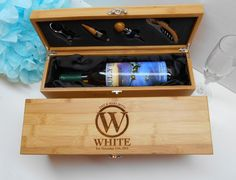 Personalized Bamboo Wine Box,  Custom Engraved Wedding Wine Box, Corporate Gift by BlueFireEngraving on Etsy https://www.etsy.com/listing/223751011/personalized-bamboo-wine-box-custom