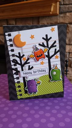 Monster mash + coordinating dies, Beep Boop Birthday, Spooktacular, Sweater Weather coordinating die, Stitched Journaling Card, Stitched Hillside Borders _ super fun birthday card by Lindsey via Flickr - Photo Sharing!