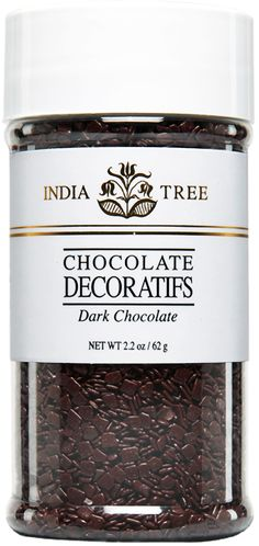 INDIA TREE DARK CHOCOLATE DECORATIFS  Top ice cream, pastries, and confections with elegant INDIA TREE Dark Chocolate Decoratifs imported from Europe. Sprinkle over a cappuccino or an espresso topped with whipped cream. Serve in a glass bowl on a coffee condiment tray.