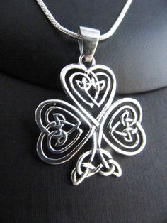 Large Sterling Silver Irish Heart Shamrock Celtic by TheCelticBead