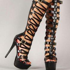 Black Gladiator Platform Heels | Tsaa Heel