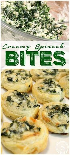 Appetizers For A Party **Best Recipes EVER** Creamy Spinach Bites Easy Recipe! Super Bowl Appetizer Recipe for a Bite Sized Mini Snack!**Best Recipes EVER** Creamy Spinach Bites Easy Recipe! Super Bowl Appetizer Recipe for a Bite Sized Mini Snack! Creamy Spinach Roll Ups Recipe, Spinach Rolls, Spinach Dip, Spinach Puffs Recipe, Spinach Puff Pastry, Water Spinach, Fingers Food, Bite Size Snacks, Bite Size Food