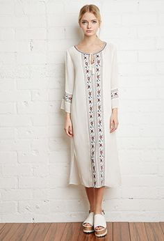 Embroidered Gauze Peasant Dress | Forever 21 - 2000155968